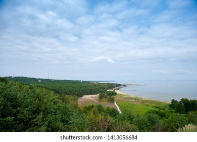 Nida - Curonian Spit and Curonian Lagoon, Nida, Klaipeda, Lithuania. Nida harbour. Baltic Dunes. Unesco heritage. Nida is located on the Curonian Spit between the Curonian Lagoon and the Baltic Sea.