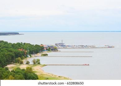 Nida - Curonian Spit and Curonian Lagoon, Nida, Klaipeda, Lithuania. Nida harbour. Baltic Dunes. Unesco heritage.