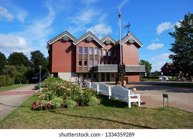 NIDA, LITHUANIA - AUGUST 06, 2018: Neringa Municipal Administration building. Nida is a resort town at Curonian Spit  in Lithuania