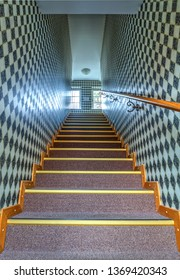 NIDA, LITHUANIA - FEBRUARY 2019: Nida hotel's colorful stairs in mosaic coridor. Nida, Lithuania.