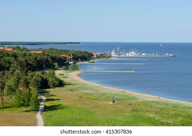 NIDA, LITHUANIA - JUNE 13, 2015: Coast of Nida seen from the Parnidis Dune.