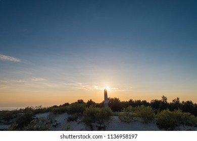 Nida / Lithuania - June 18 2018: Evening aerial view of sundial constructed on Parnidzio dune in Curonian spit near Nida