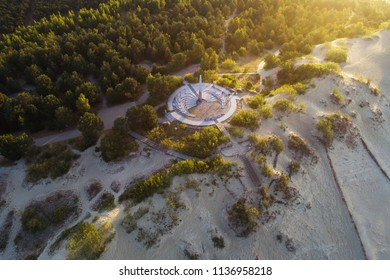 Nida / Lithuania - June 18 2018: Early morning aerial view of sundial constructed on Parnidzio dune in Curonian spit near Nida
