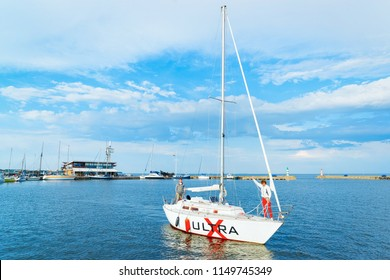 Nida, Lithuania - May 10, 2016: Ship at Nida resort town near Klaipeda in Neringa on the Baltic Sea at the Curonian Spit in Lithuania.