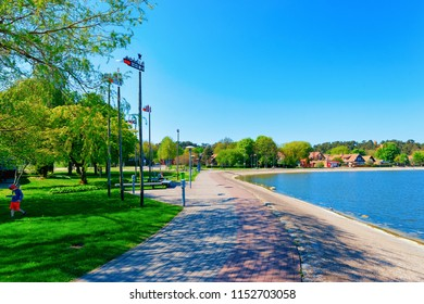 Nida, Lithuania - May 10, 2016: Nida resort town near Klaipeda in Neringa on the the Baltic Sea and the Curonian Spit in Lithuania.