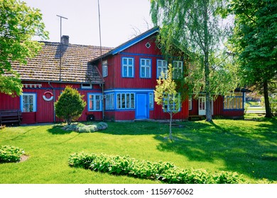 Nida, Lithuania - May 10, 2016: House architecture at Nida resort town near Klaipeda in Neringa in the the Baltic Sea and the Curonian Spit in Lithuania.