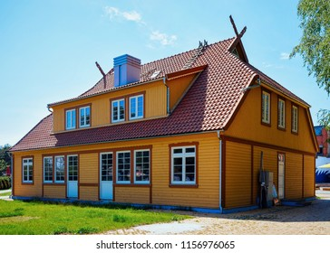 Nida, Lithuania - May 10, 2016: Building architecture in Nida resort town near Klaipeda in Neringa in the the Baltic Sea and the Curonian Spit in Lithuania.