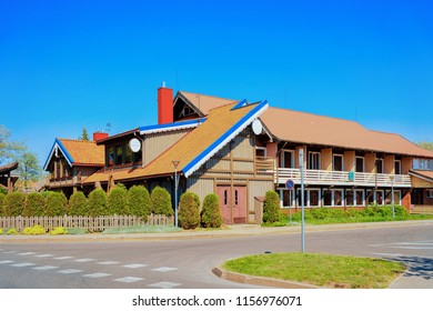 Nida, Lithuania - May 10, 2016: Building architecture at Nida resort town near Klaipeda in Neringa in the the Baltic Sea and the Curonian Spit in Lithuania.