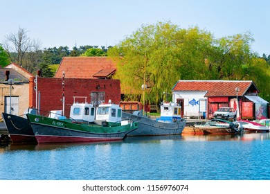 Nida, Lithuania - May 10, 2016: Ships in Nida resort town near Klaipeda in Neringa on the Baltic Sea in the Curonian Spit in Lithuania.