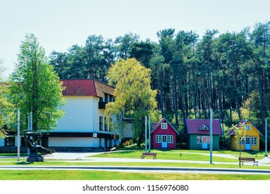 Nida, Lithuania - May 10, 2016: Buildings architecture in Nida resort town near Klaipeda in Neringa in the the Baltic Sea and the Curonian Spit in Lithuania.