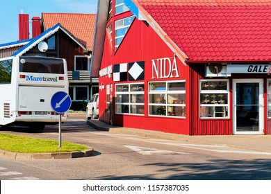 Nida, Lithuania - May 10, 2016: Bus station building architecture at Nida resort town near Klaipeda in Neringa in the the Baltic Sea and the Curonian Spit in Lithuania.