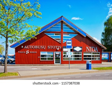 Nida, Lithuania - May 10, 2016: Bus station building architecture in Nida resort town near Klaipeda in Neringa in the the Baltic Sea and the Curonian Spit in Lithuania.