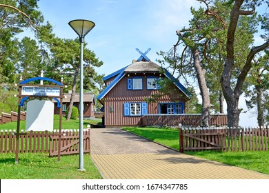NIDA, LITHUANIA - MAY 11, 2013: Writer Thomas Mann Cultural Center. Lithuanian text - Thomas Mann House Museum