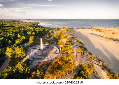 NIDA, LITHUANIA - SEPTEMBER 06, 2016: Aerial view of Parnidis dune with sun clock in Nida city.