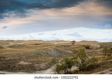 Nida/Lithuania September 4, 2019 Nida - Curonian Spit and Curonian Lagoon, Nida, Klaipeda, Lithuania. Nida harbour. Baltic Dunes. Unesco heritage. Nida is located on the Curonian Spit