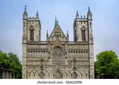 Nidaros ancient gothic cathedral front view from city central square. Nidarosdomen, Trondheim, Norway