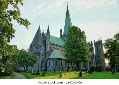 The Nidaros Cathedral in the center of the city Trondheim.