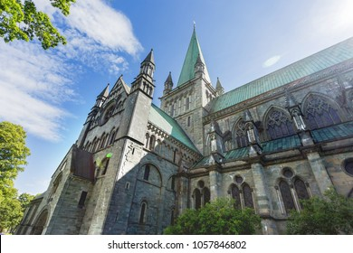Nidaros Cathedral (Nidarosdomen) in sunny summer day. Trondheim, Norway.