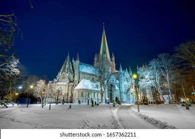 Nidarosdomen in Trondheim, Norway. A famous cathedral in winter lanscape