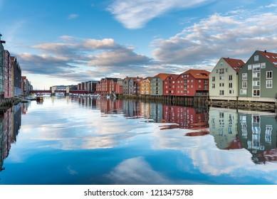 Nidelva River in Trondheim City - Norway