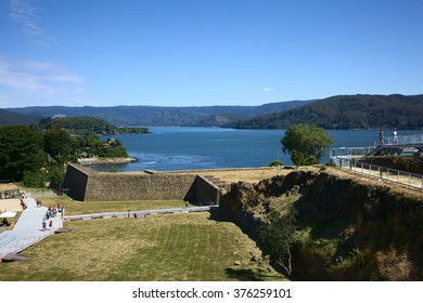 NIEBLA, CHILE - FEBRUARY 2, 2016: Entrance area and wall of the ruin of Niebla fort, Chile on February 2, 2016. The fort, located at the mouth of Valdivia river, is part of the Valdivian fort system.