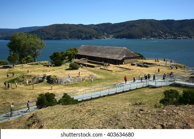 NIEBLA, CHILE - FEBRUARY 2, 2016: Museum (former headquarter) of the Niebla fort, Chile on February 2, 2016. The fort is part of the Valdivian fort system and was declared national monument in 1950.