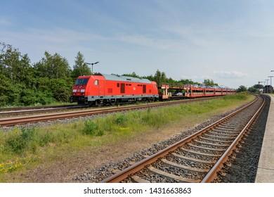 Niebuell - View to Car train heading towards Sylt Island via Hindenburg Dam, Schleswig-Holstein, Germany, 04.06.2019