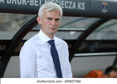 NIECIECZA, POLAND - AUGUST 05, 2017: Polish Premier Football League Termalica Bruk-Bet Nieciecza - Legia Warszawa o/p Jacek Magiera