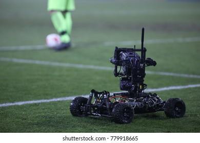 NIECIECZA, POLAND - DECEMBER 02, 2017: Polish Premier Football League Sandecja Nowy Sacz - Legia Warszawa o/p camera TV