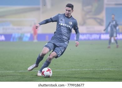 NIECIECZA, POLAND - DECEMBER 02, 2017: Polish Premier Football League Sandecja Nowy Sacz - Legia Warszawa o/p Jaroslaw Niezgoda