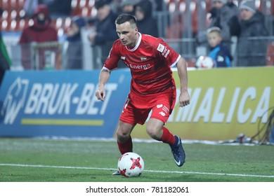 NIECIECZA, POLAND - DECEMBER 16, 2017: Polish Premier Football League Sandecja Nowy Sacz - Lechia Gdansk o/p Slawomir Peszko
