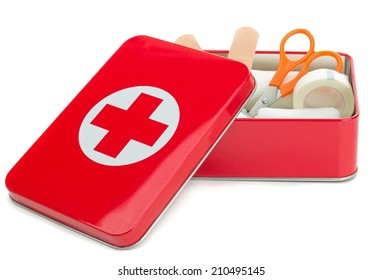NIEDERSACHSEN, GERMANY AUGUST 10, 2014 - An open metal first aid box with contents on a white background