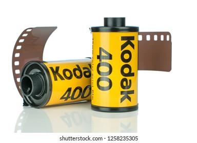 NIEDERSACHSEN, GERMANY DECEMBER 14, 2018: Two rolls of Kodak Ultramax 400 35mm camera film on a white background.
