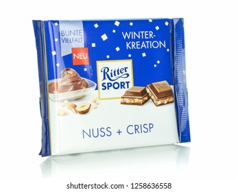 NIEDERSACHSEN, GERMANY, DECEMBER 14, 2018: A bar of Ritter Sport Nuss and Crisp flavoured chocolate on a white background