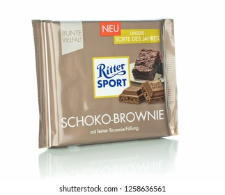 NIEDERSACHSEN, GERMANY, DECEMBER 14, 2018: A bar of Ritter Sport Schoko Brownie flavoured chocolate on a white background