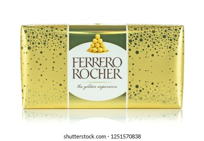 NIEDERSACHSEN, GERMANY DECEMBER 6, 2018: A box of Ferrero Rocher sweets in gold wrapping paper on a white background