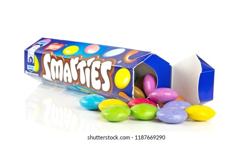 NIEDERSACHSEN, GERMANY SEPTEMBER 25, 2018: A tube of Nestle Smarties chocolate sweets on a white background