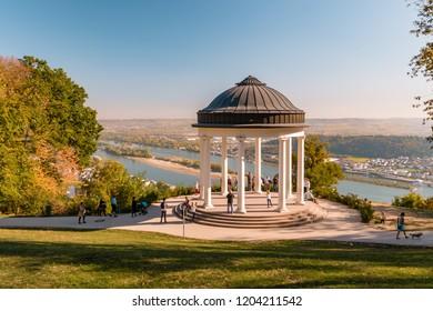 Niederwaldtempel rotunda located in the Niederwald near Rudesheim am Rhein in Hesse, Germany October 2018