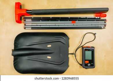 Niedomice, Poland - January 14, 2019: Mammut Barryvox S Package has all the avalanche equipment you need for freeriding, off-piste runs or ski touring. Transceiver, Snow Shovel,  Avalanche Probe.