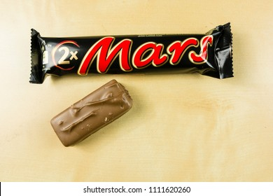 Niedomice, Poland - June 08, 2018: Top view of the Mars chocolate bar.