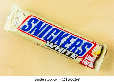 Niedomice, Poland - June 08, 2018: Snickers chocolate bar limited edition - White.