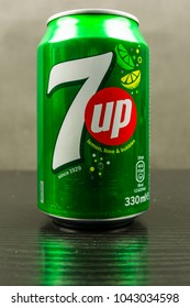 Niedomice, Poland - March 06, 2018: Close-up of the 7up logotype in a beverage can.