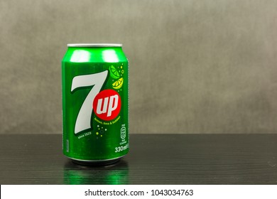 Niedomice, Poland - March 06, 2018: 7up non-caffeinated soft drink of lemon-lime flavored.