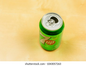 Niedomice, Poland - March 09, 2018: Open can with non-alcoholic carbonated drink 7up.