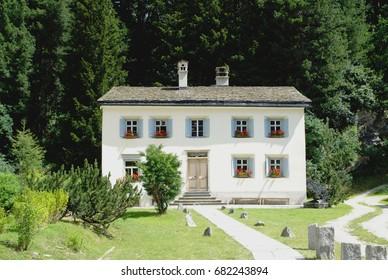 Nietzsche-Haus (holiday home where the philosopher Nietzsche lived). Sils Maria, Switzerland
