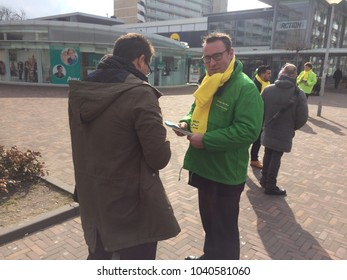 Nieuw Waldeck, The Hague, the Netherlands - March 7 2018: Groep de Mos campaigners canvassing the public outside a shopping centre in The Hague