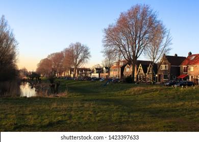 Nieuwendammerdijk in Amsterdam Noord, Netherlands