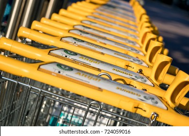 NIEUWERKERK, NETHERLANDS - September 23, 2017: Jumbo shopping carts made by Wanzl. Jumbo is the second-largest supermarket chain in the Netherlands.