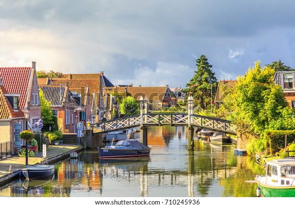 Nieuwstad, Hindeloopen, province of Friesland,  municipality Sudwest-Fryslan, Netherlands, september 3, 2017:  View to historic houses along Nieuwstad