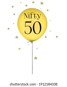 Nifty Fifty birthday balloon on white background.